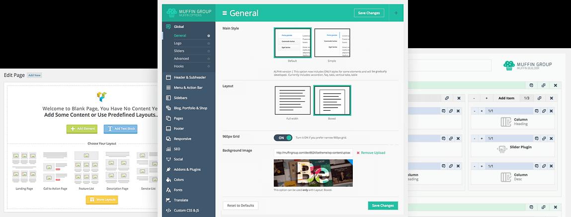 Exempel på olika WordPress temans gränssnitt för inställnar av färg och layout