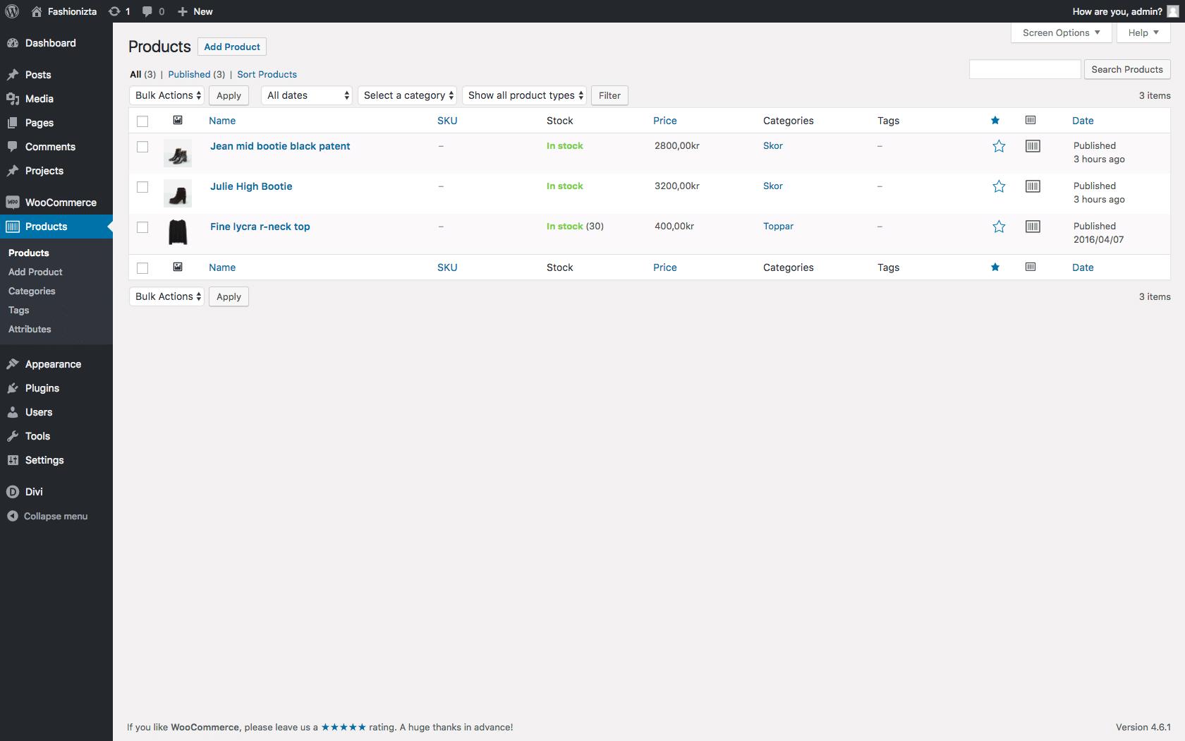 WP Shop - Produktoversigt