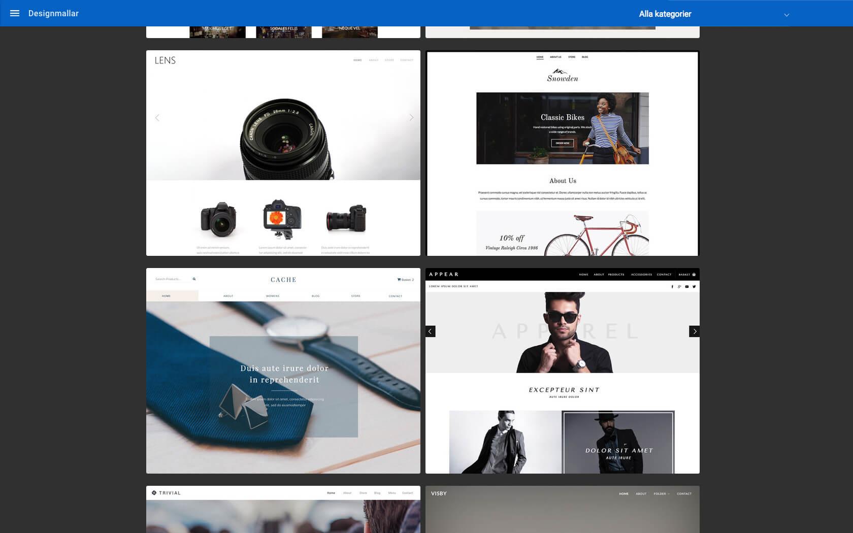 Lens, Snowden, Cache, Appear – Fyra exempel på Surftown Sitebuilders mallar speciellt utformade för webshops.