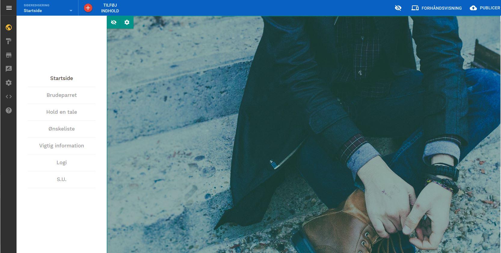 Alle sider er klar Sitebuilder bryllupshjemmesideværktøj