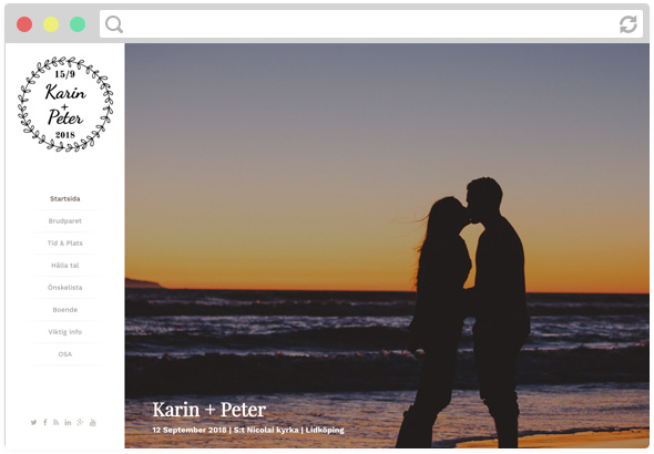 Exempel på en bröllopshemsida skapad i ett hemsideprogram.