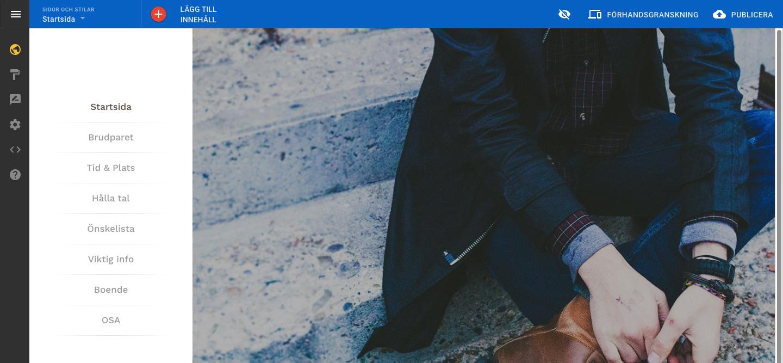 Alla sidor på plats i designmallen Antlers – bild från hemsideprogrammets gränssnitt.