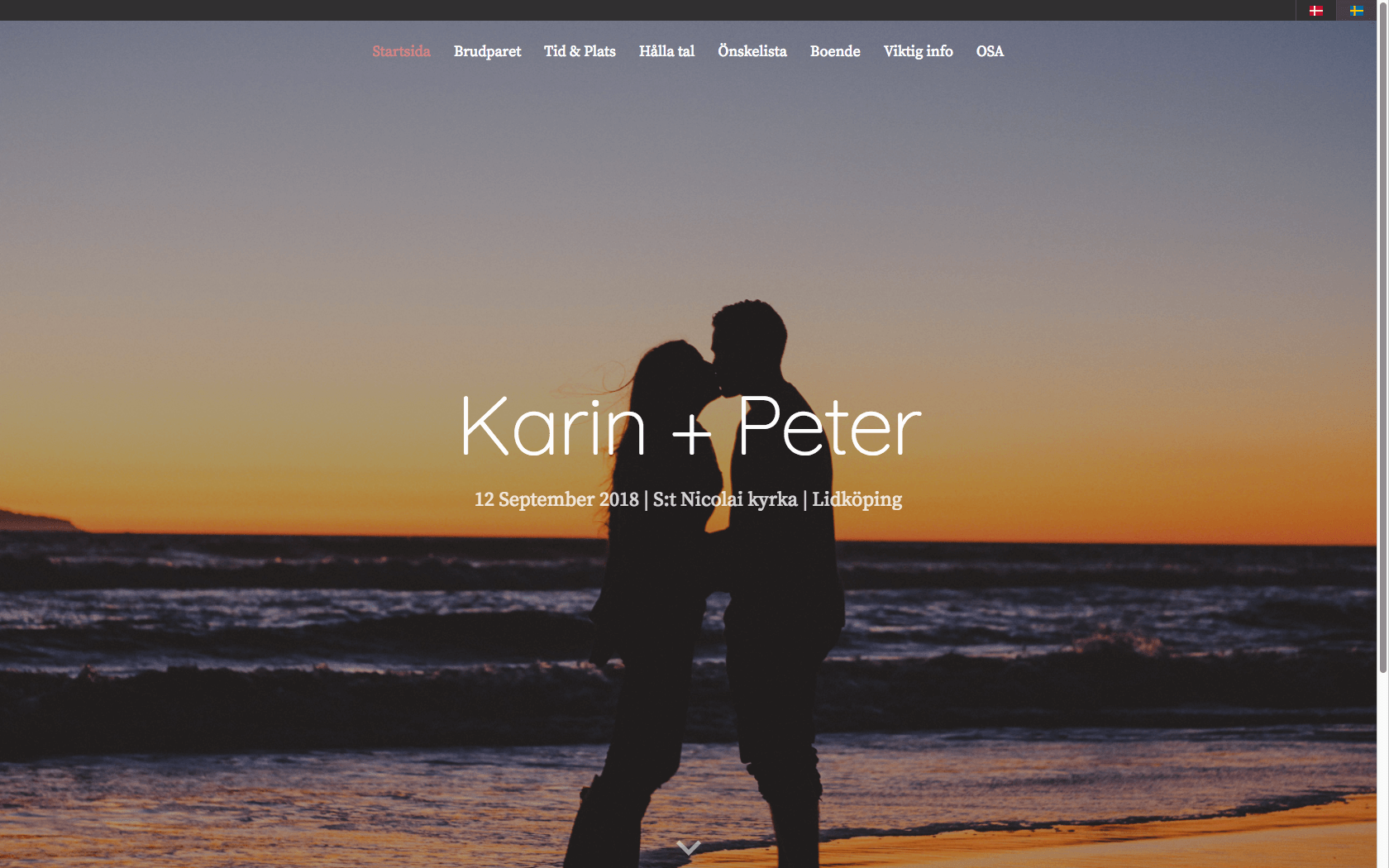 Bröllopshemsida med hemsideprogram - designmallen lorah