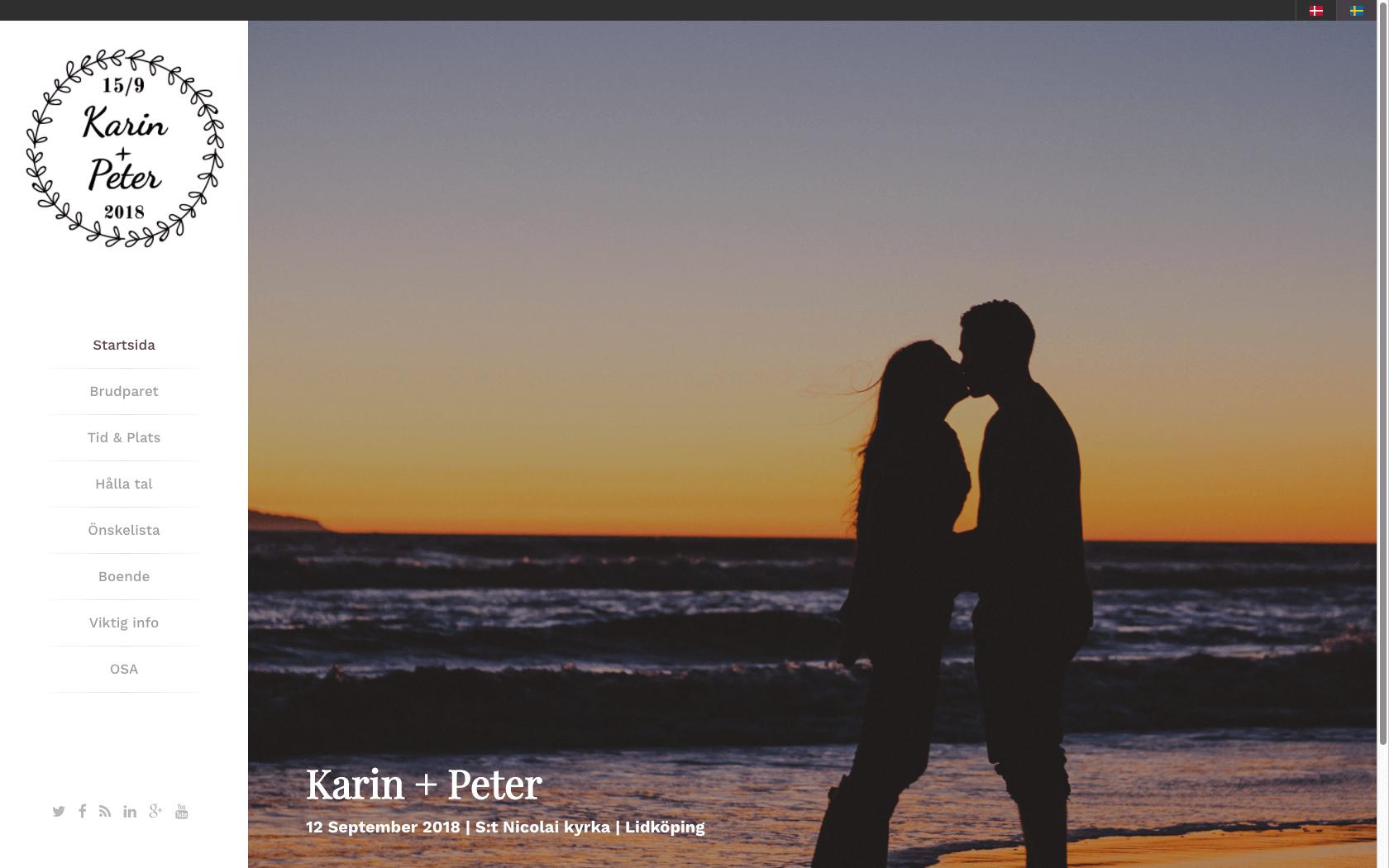 Bröllopshemsida med hemsideprogram - designmallen antlers