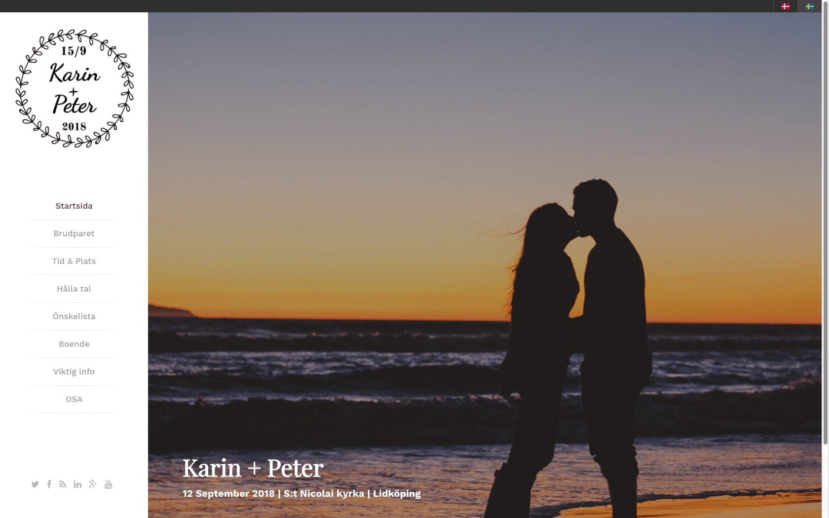 Färdig design av bröllopshemsida med hemsideprogram