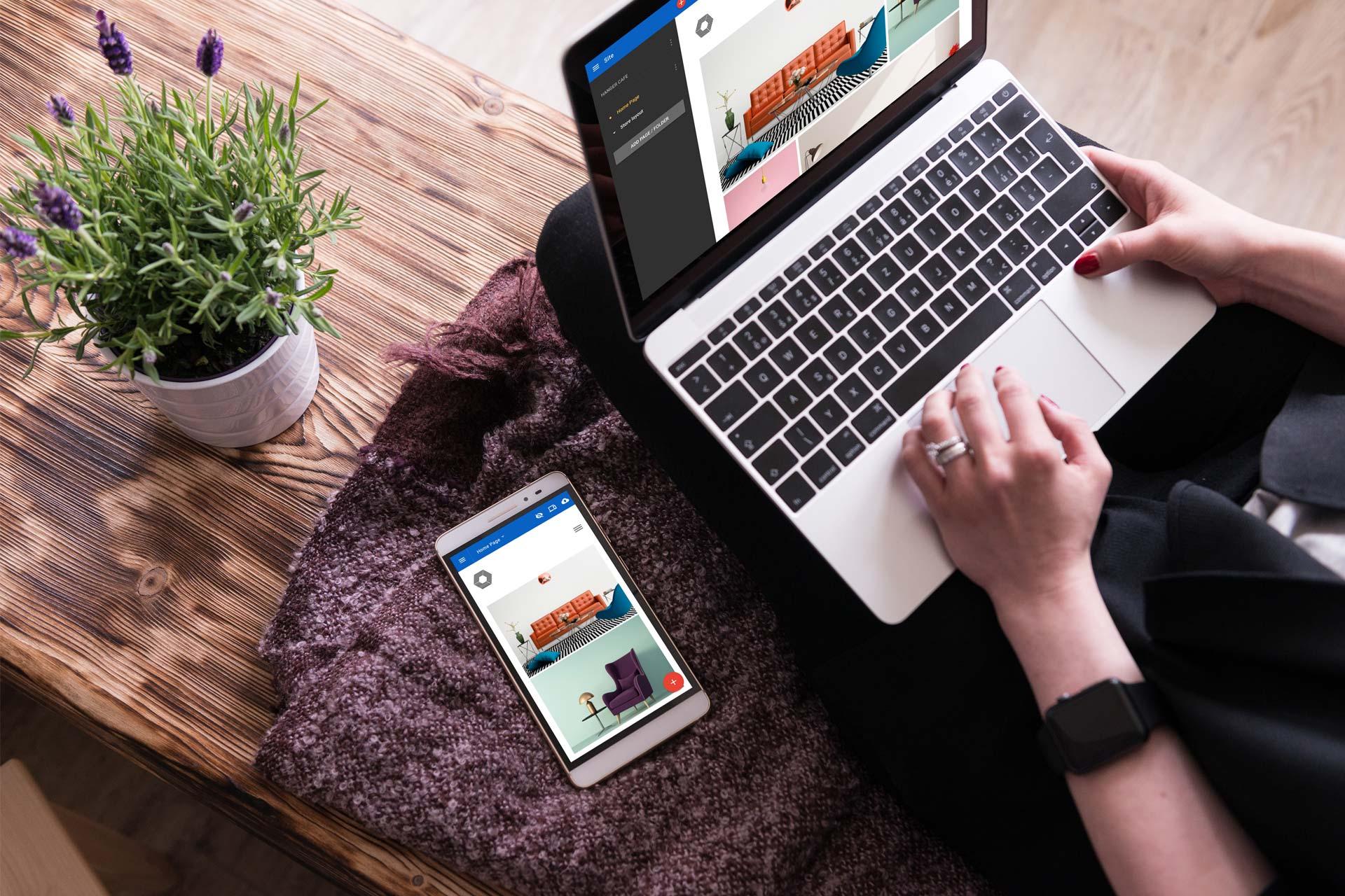 Hemsideprogrammet Surftown Sitebuilder fungerar lika bra för att skapa företagets hemsida, på telefonen som på datorn, både för besökare och för dig som administrerar sidan.